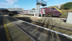 Train Leaving The Railway Station - stock footage