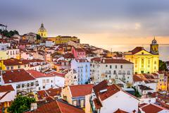 Alfama, Lisbon, Portugal Cityscape Stock Photos