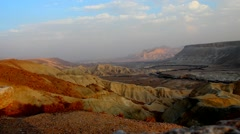 Canyon in national park Ein-Avdat in Negev stony desert (Israel) at sunset Stock Footage