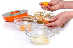 Preparation of a French ring cake, named savarin - stock photo