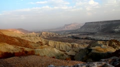 Canyon in national park Ein-Avdat in Negev stony desert (Israel) Stock Footage