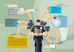 Infographic Canada Border Services Agency (CBSA) .Kntejner, weigh, report. Wo Stock Illustration