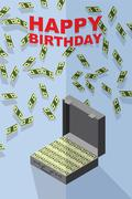 Happy Birthday. Falling money. Case of money. Wealth. Congratulations  card - stock illustration