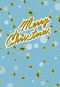 marry christmas. Wealth. Falling money. - stock illustration