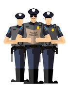 Three police officers were arrested. Police silhouette. The Arrest Stock Illustration