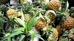 Asian fruits  tamarind, pineapple on a market stall. HD. 1920x1080 - stock footage