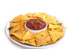 Nacho crunch salsa dip - stock photo