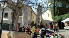 Spain Mallorca Island Sineu village 016 weekly market in old town ambience - stock footage