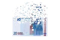 20 euro banknote dissolving as a concept of economic crysis - stock illustration