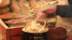 Sale on a street tray of traditsinny Polish snack - smalec Stock Footage
