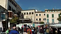 Spain Mallorca Island Sineu village 009 city life on farmers market Stock Footage