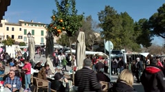 Spain Mallorca Island Sineu village 008 crowd of people visit weekly market Stock Footage
