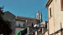 Spain Mallorca Island Sineu village 006 church nave between Spanish houses Stock Footage