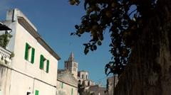 Spain Mallorca Island Sineu village 004 street into city center Stock Footage