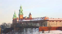 View of the Wawel castle and the Vistula River in Krakow in winter day Stock Footage