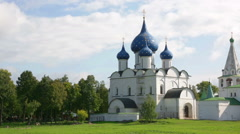 Ancient Kremlin in Suzdal,  Golden Ring Russia, panning Stock Footage