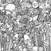 Cute doodle seamless pattern. Love and sweets. - stock illustration