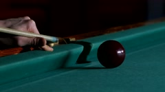 Cue hits red pool ball Stock Footage