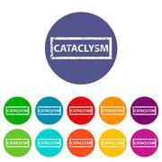 Cataclysm flat icon Stock Illustration