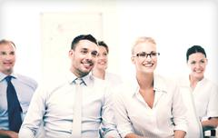 businessmen and businesswomen on conference - stock photo