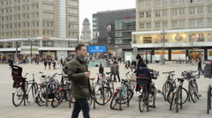 Timelapse of people, Cable car and train traffic at Berlin Mitte Stock Footage