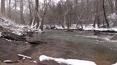 Snowy Creek - Fast Flowing Water Stock Footage