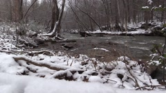Snowy Landscape - Flowing Creek in Winter - stock footage
