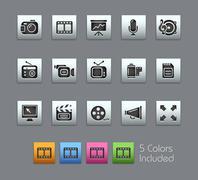 Multimedia Icons // Satinbox Series Stock Illustration
