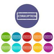Corruption flat icon Stock Illustration