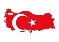 Turkey flag map Stock Illustration