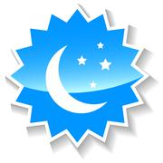 Moon blue icon - stock illustration