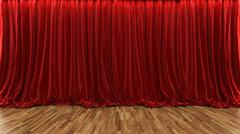 3d rendering theater stage with red curtain and wooden floor Stock Illustration