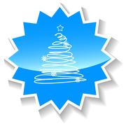 Fir-tree blue icon - stock illustration