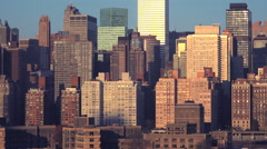 A view of high rises and apartments along the Manhattan New York City skyline. - stock footage
