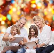 happy family with tablet pc computers - stock photo