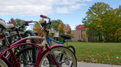Bikes on College Campus Time-lapse Stock Footage
