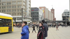 People, Cable car passing by Berlin Alexanderplatz Stock Footage
