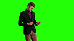 Trendy guy working with the tablet - stock footage