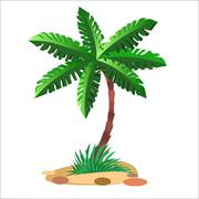 Green palm tree on a neutral background Stock Illustration