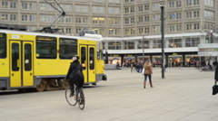 Alexanderplatz in Berlin with cable car passing by Stock Footage