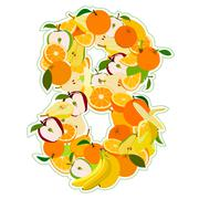 Juicy fruit in the form of number 8 Stock Illustration