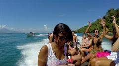 Boat Travel around Rio de Janeiro Islands in Brazil - stock footage