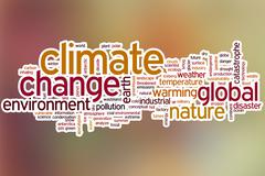 Climate change word cloud with abstract background - stock illustration