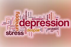 Depression word cloud with abstract background Stock Illustration