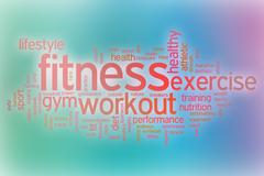 Fitness word cloud with abstract background Piirros
