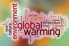 Global warming word cloud with abstract background - stock illustration