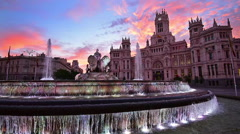 Fountain in Madrid Stock Footage