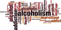 Alcoholism word cloud - stock illustration