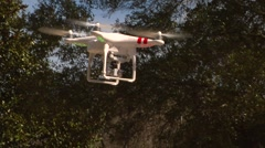 UAV-13, drone helicopter MCU low angle flys on windy day Stock Footage