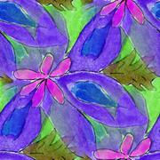blots purple flower watercolor painting seamless background - stock illustration